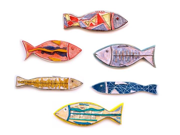 Colorful Ceramic Fish, Set Of 8, Pottery Fish, Wall Art Ceramic Fish ...
